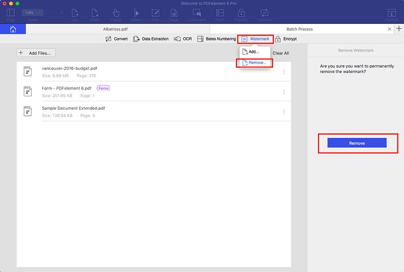 rimozione in blocco di filigrana dai pdf su mac