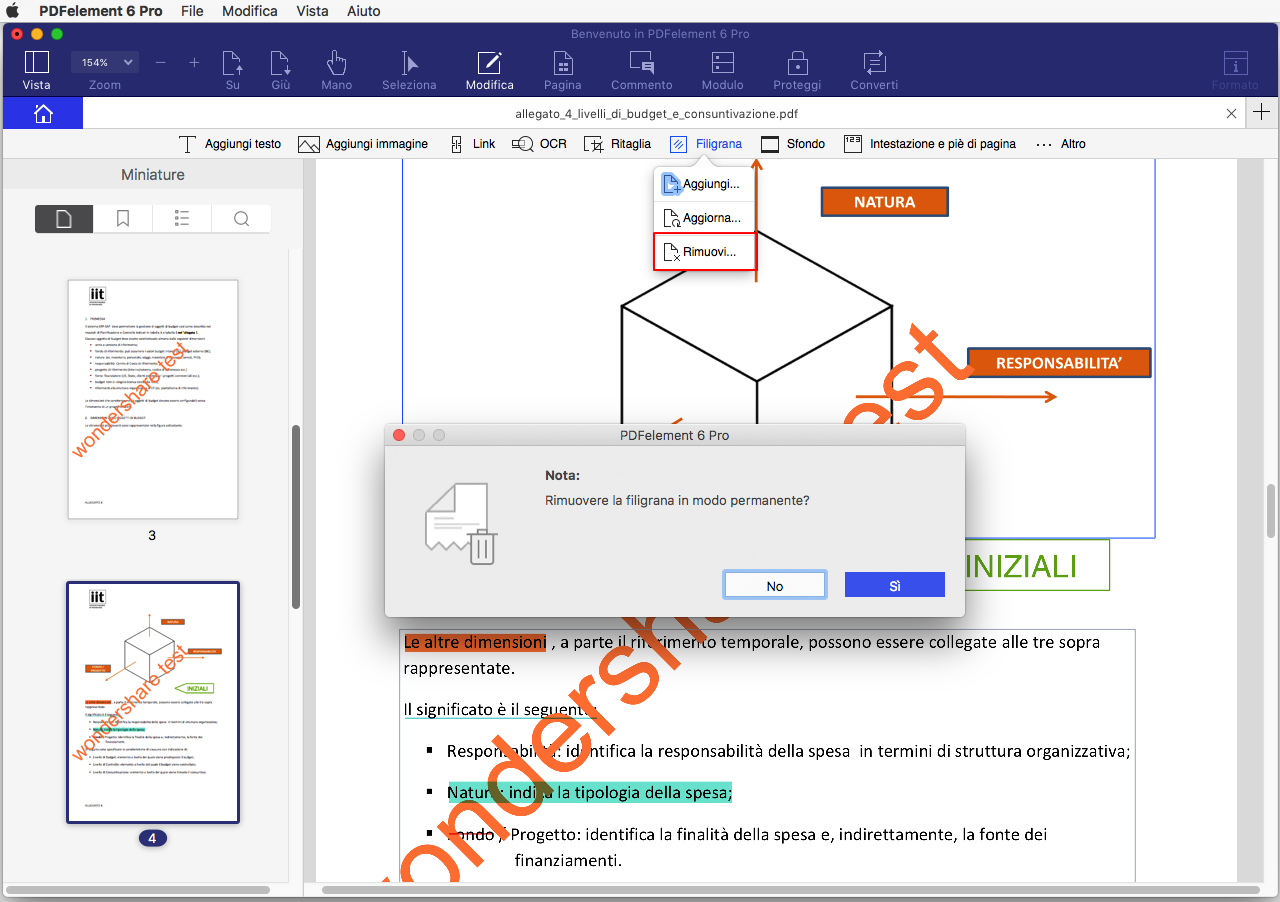 rimozione filigrana dai pdf su mac