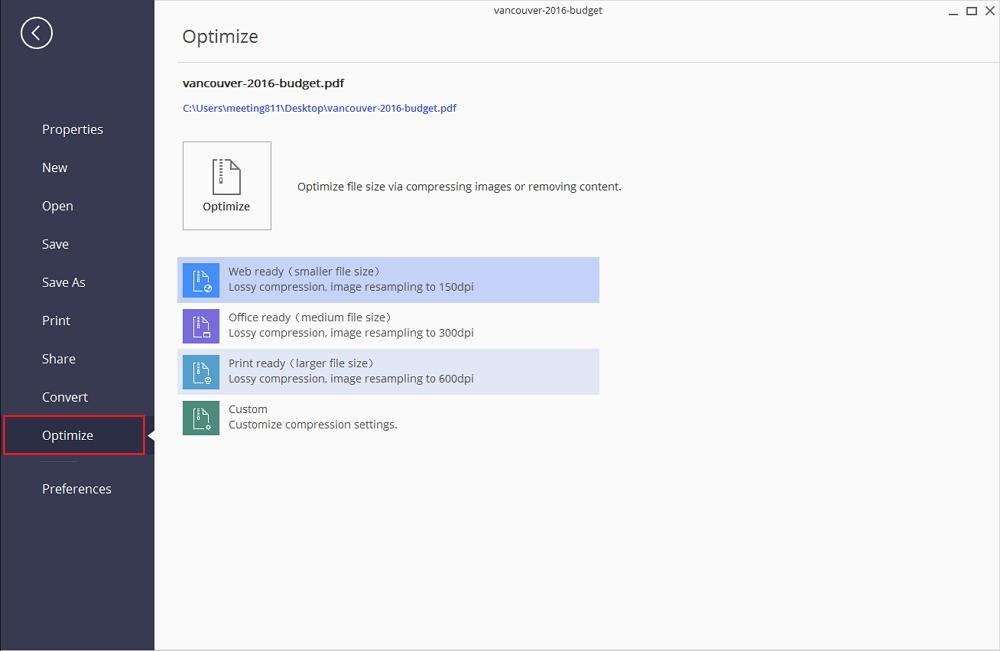 ridurre la dimensione di pdf scansionati