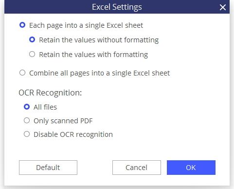 Apri PDF in Excel
