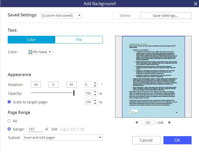 aggiungere sfondo ai pdf