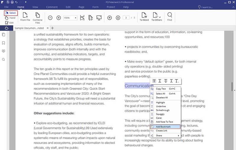 aggiungere segnalibro ad un pdf