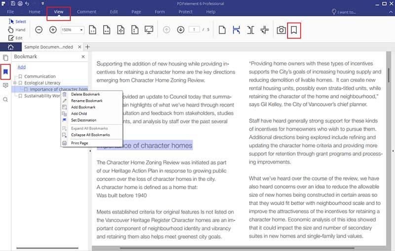 aggiungere segnalibri ai pdf