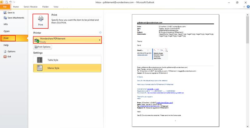 unione email in pdf