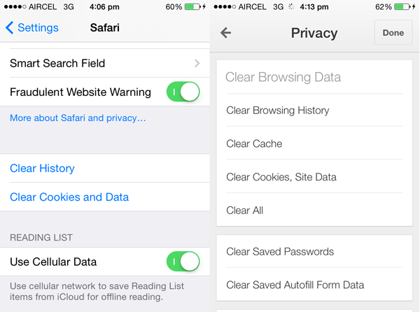 iPhone browser cache clearing options