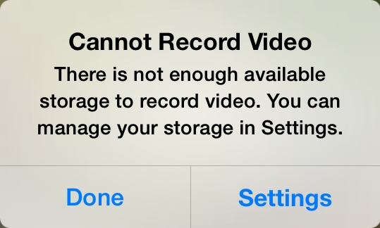 storage full ios 7