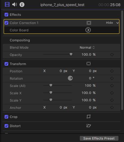 Effetti di correzione colori in ispettore video.