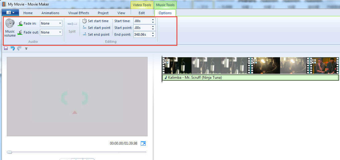 Edit Music in Windows Movie Maker