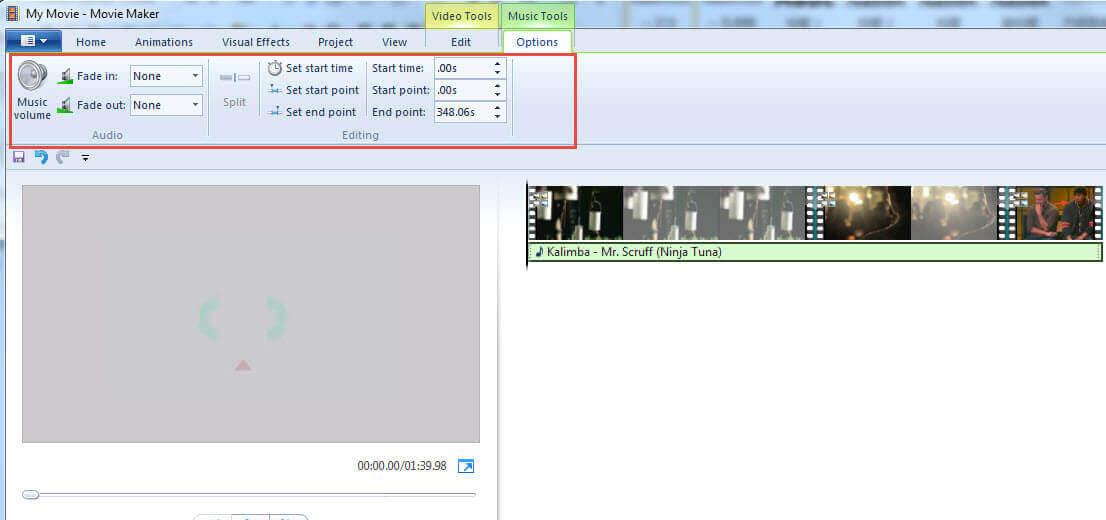Edit Music in Windows Movie Maker