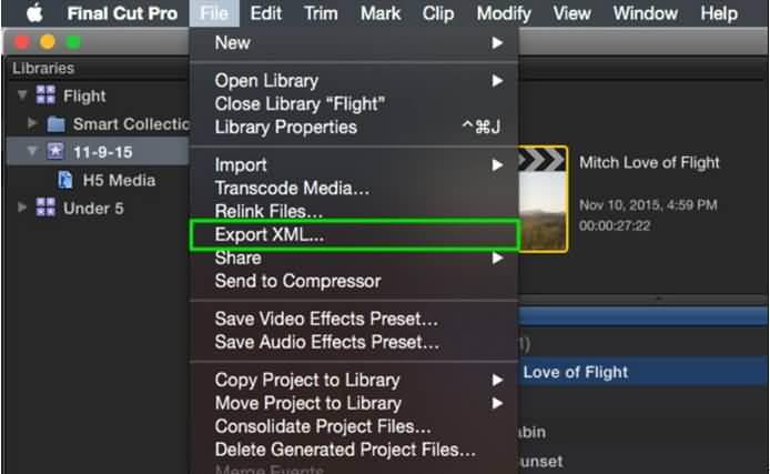 esporta XML da Final Cut