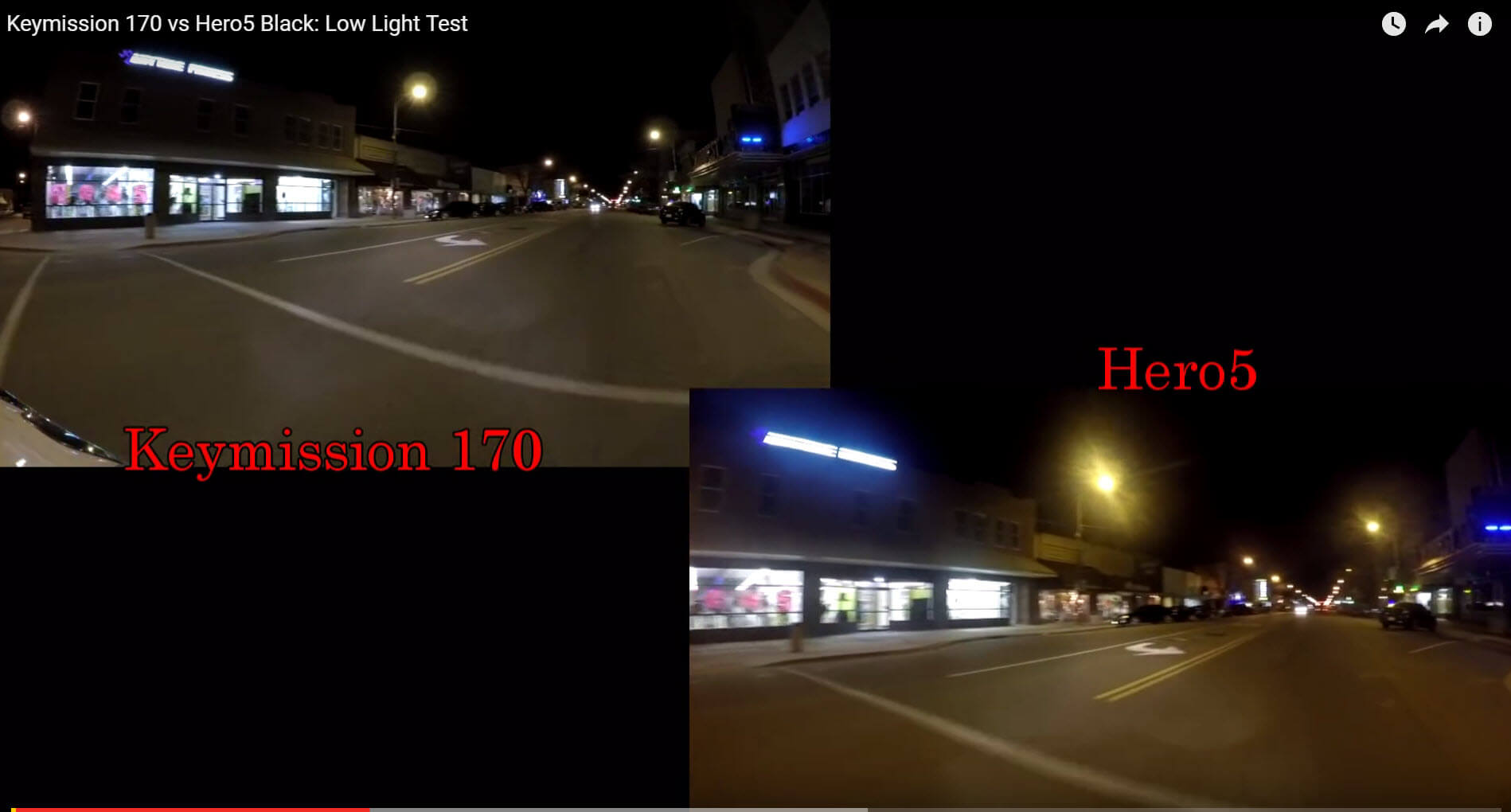 hero5 balck keymission170 low light test