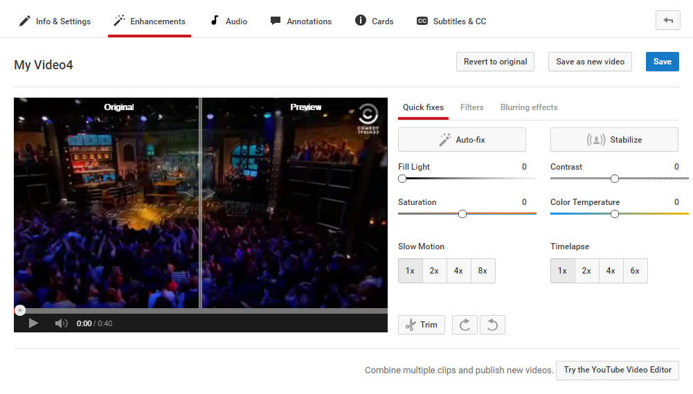 YouTube recensione editor video