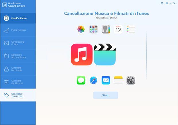 Inizia a cancellare tutti i dati sul tuo dispositivo iOS