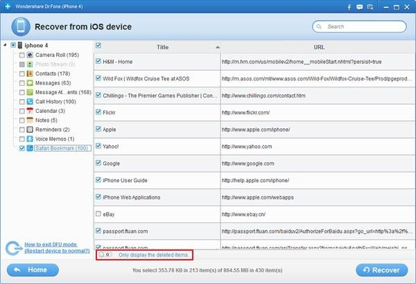 recover bookmark from iphone