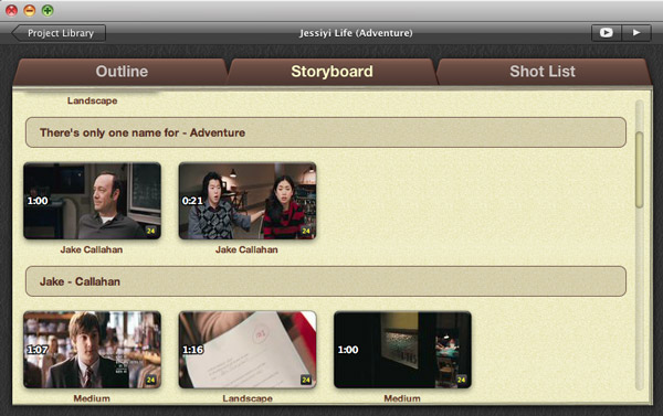 storyboard movie trailer in imovie 11